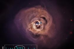 Galaksehopen Persevs og røntgensignalet som hinter til at mørk materie kan bestå av elementærpartikkelen steril nøytrino. Grafikk: NASA/CXC/SAO/E.Bulbul, et al.