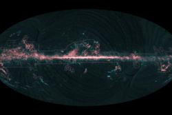 Gasskyer konsentrert langs Melkeveiens plan, sett av romsonden Planck. Foto: ESA