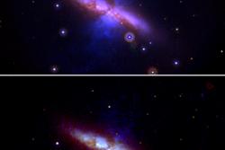 Galaksen M82 før (øverst) og etter supernovaen SN 2014J ble synlig, sett av romteleskopet Swift. Foto: NASA/Swift/P. Brown/TAMU