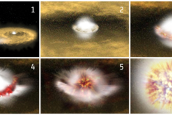 En hvit dvergstjerne eksploderer som en Type 1a supernova etter å ha sugd til seg masse fra en annen stjerne. Massen legger seg rundt ekvator på dvergstjernen, eksploderer, og får stjernens indre til å gå i lufta. Grafikk: ESA/ATG medialab
