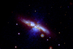 Supernovaen SN 2014J i galaksen M82, eller Sigargalaksen, ble oppdaget av en gruppe studenter ved University College i London i 2014. Foto: NASA/Swift/P. Brown/TAMU