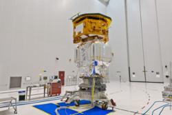 LISA Pathfinder før den settes inn i en bærerakett av typen Vega før oppskyting 2. desember 2015. Foto: ESA/CNES/Arianespace/Optique Vidéo du CSG/P. Baudon
