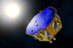 LISA Pathfinder er det første romfartøyet som skal måle gravitasjonsbølger, som blant annet supernovaer og svarte hull sender ut. Det blir en ny måte å undersøke universet på. Grafikk: ESA/NASA
