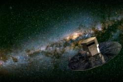 Gaia kartlegger stjernene og ser etter solsystemer i Melkeveien. Illustrasjon: ESA