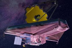 Romteleskopet James Webb skal skytes opp i 2021 og vilse enda lenger ut i rommet enn Hubble. Grafikk: NASA