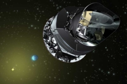 Romteleskopet Planck har undersøkt den kosmiske bakgrunnen av mikrobølgestråling, restene etter the Big Bang og universets tidligste tider. Illustrasjon: ESA