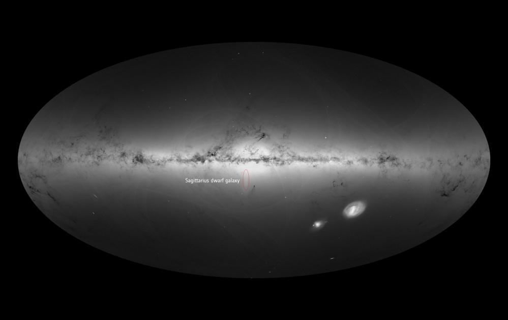 Melkeveien og dverggalaksen Sagittarius (rød ring) sett av ESAs romteleskop Gaia. Foto: ESA/Gaia/DPAC
