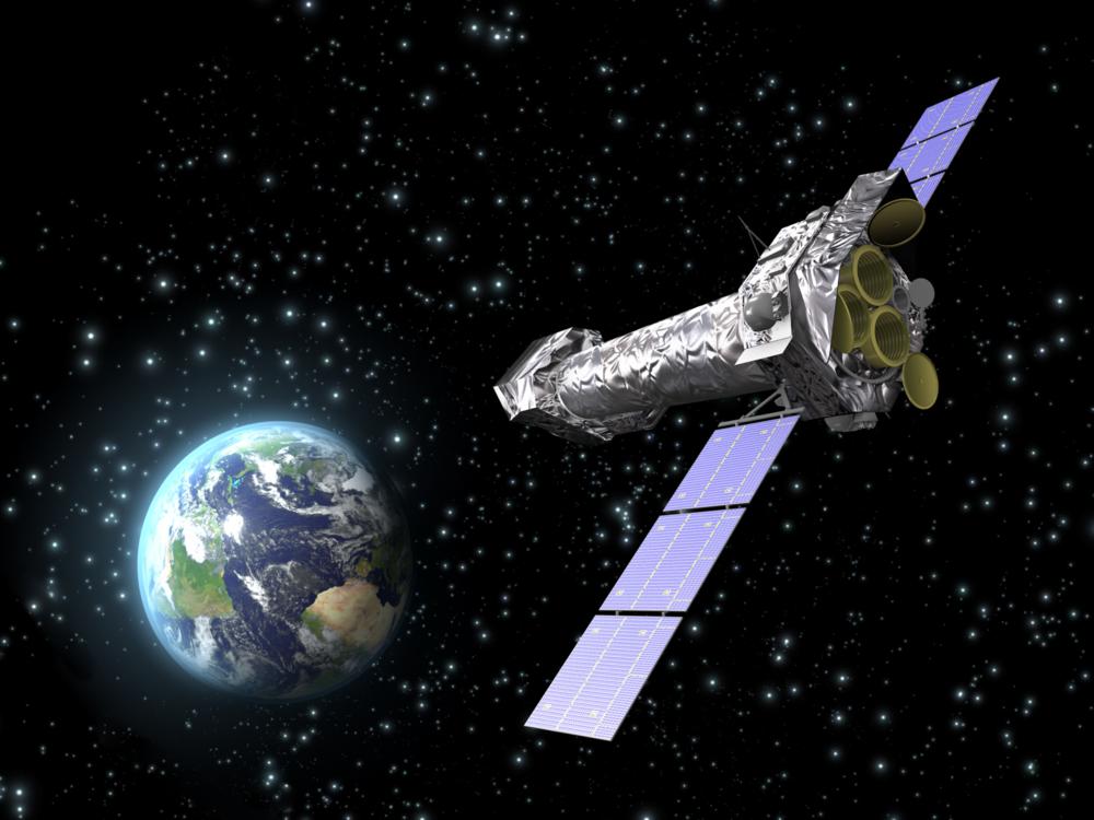 XMM-Newton, den europeiske romorganisasjonen ESAs røntgenteleskop i rommet. Illustrasjon: ESA