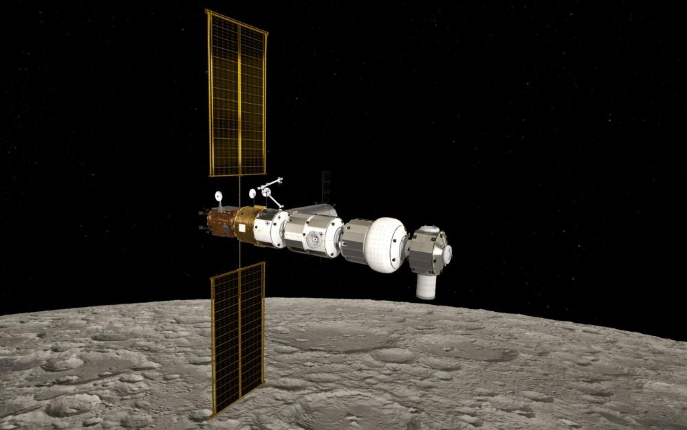 Gateway skal gå i svært elliptisk bane rundt månen. Illustrasjon: ESA/NASA/ATG medialab