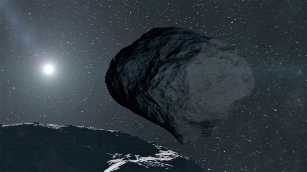 Den ørlille asteroiden Dimorphos sett fra denstørre asteroidenDidymos. Illustrasjon: ESA