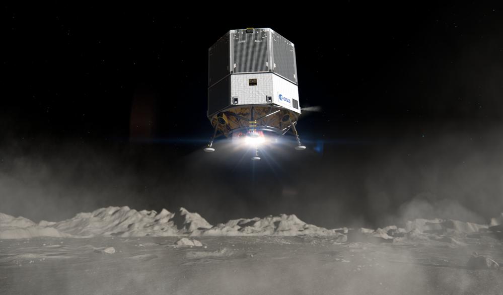 Et forsyningsfartøy i måneferden Heracles lander på månen. Illustrasjon: ESA