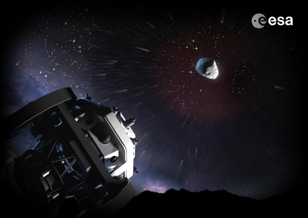 FlyEye er ESAs teleskoper som skal se etter nærgående asteroider. Det første skal være ferdig på Sicilia i slutten av 2019. Illustrasjon: ESA/A. Baker, CC BY-SA 3.0 IGO