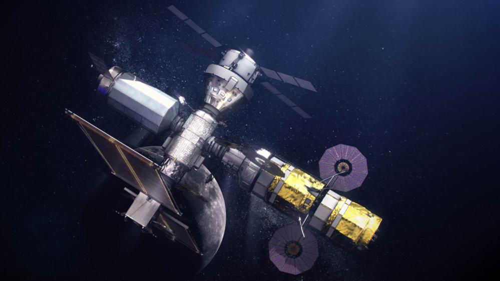 Gateway, romstasjonen i bane rundt månen, med månelandingsfartøy dokket til høyre. Illustrasjon: NASA