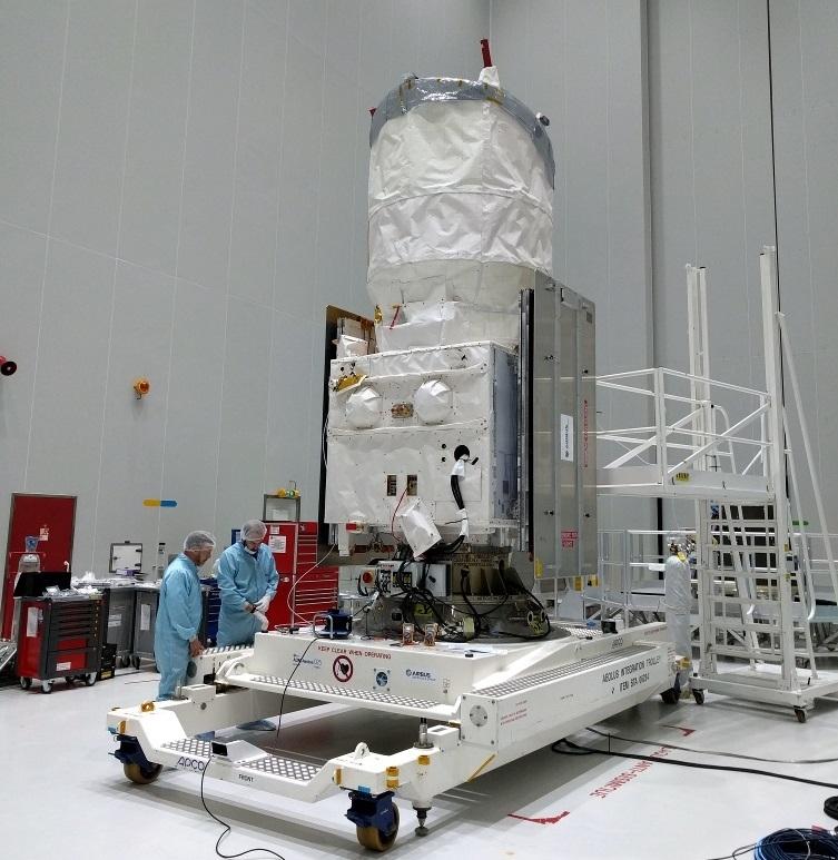 Vindsatellitten Aeolus gjøres klar for oppskyting. Foto: ESA