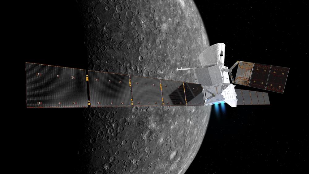 BepiColombo ved Merkur, solsystemets innerste planet. Illustrasjon: ESA/ATG medialab