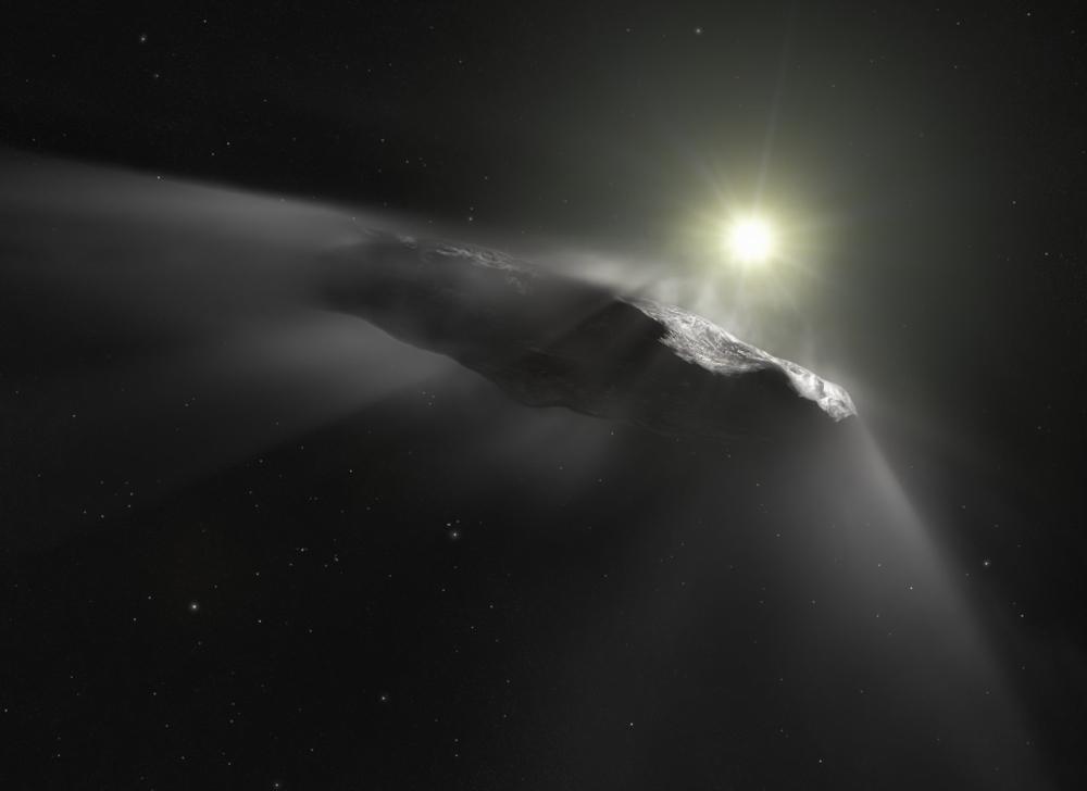 Objektet Oumuamua kom utenfravårt solsystem og suste forbi jorda i 2017. Illustrasjon:ESA/Hubble/NASA/ESO/ M. Kornmesser