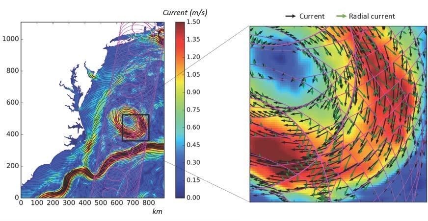 SKIM skal måle både vertikal og horisontal sirkulasjon i havet. Slik vil SKIMs målinger se ut. Grafikk: CLS/CNES–C. Ubelmann