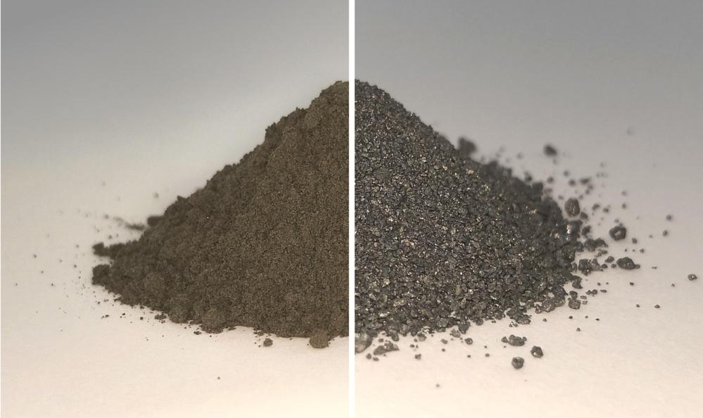 Når etterlikning avmåneregolitt (til venstre) tømmes for oksygen, inneholder blandingen som blir igjen (til høyre) ulike metaller. Foto: ESA