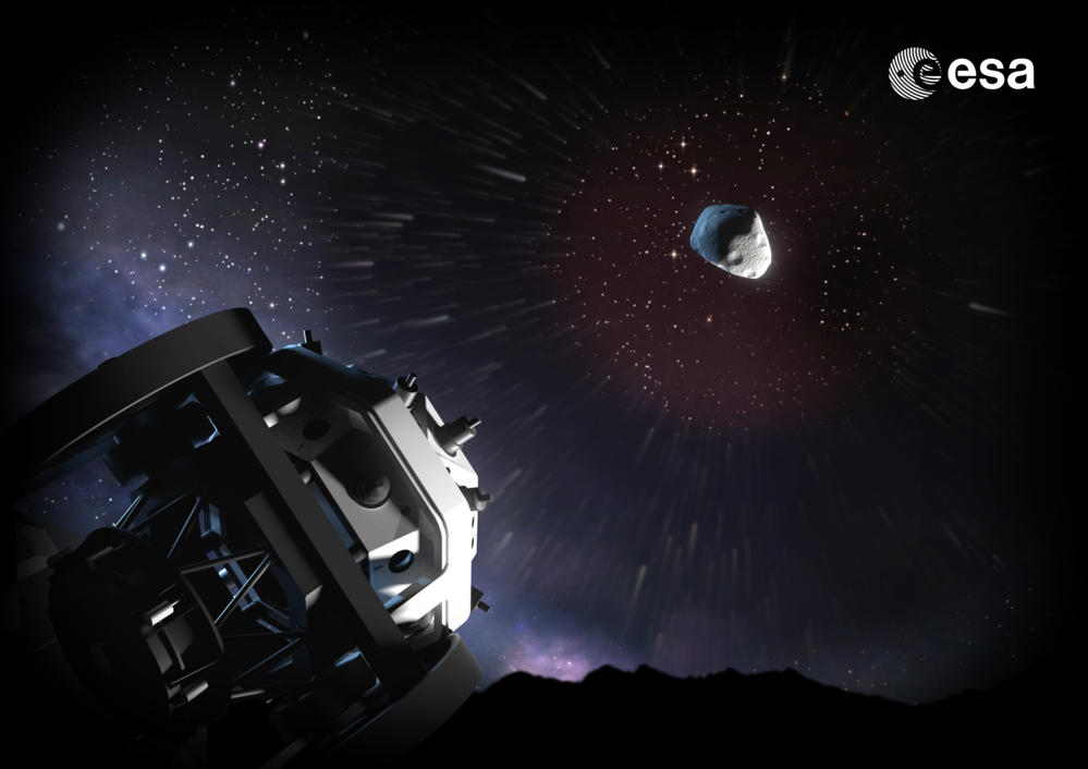 Teleskopene Flyeye skal oppdage nærgående asteroider og kan derfor se i 16 retninger samtidig. Illustrasjon: ESA/A. Baker