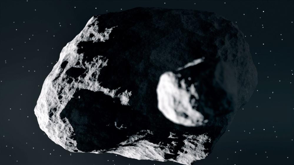 Asteroiden Didymos og dens lille følgesvennDimorphos (tidligere Didymoon)skal undersøkes av Hera. Illustrasjon: ESA