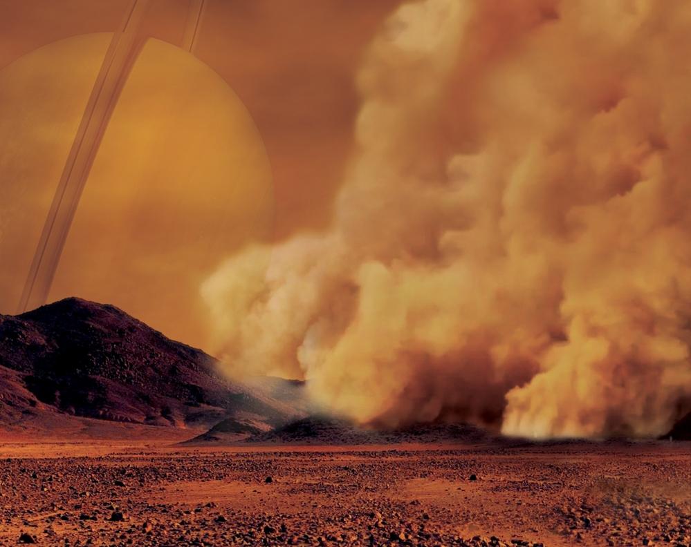 Slik kan en sandstorm av hydrokarbonpartikler på Titan se ut. Illustrasjon: IPGP/Labex UnivEarthS/University Paris Diderot – C. Epitalon & S. Rodriguez