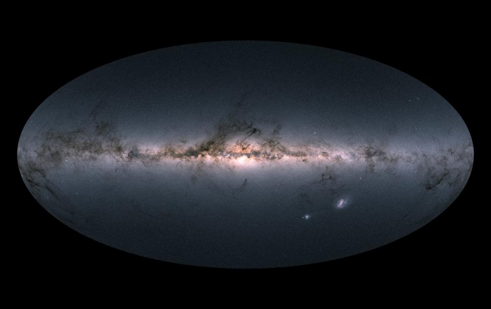 Melkeveien med galakseskiven og galaksekjernen i tverrsnitt sett av Gaia. Foto: ESA/Gaia DPAC