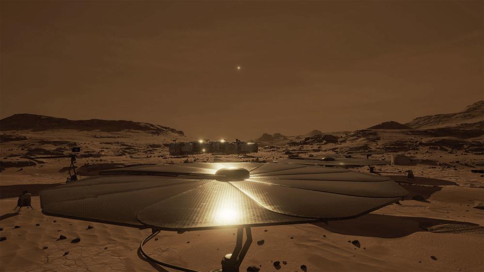 Slik kan en bemannet rombase på Mars se ut. Illustrasjon: NASA