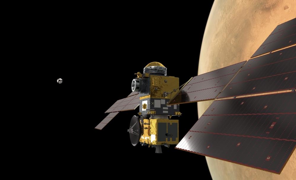 Earth Return Orbiter fanger inn kapselen med prøver fra overflaten på Mars. Illustrasjon: ESA/ATG medialab