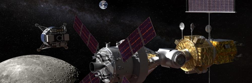 Månestasjonen Gateway (til høyre) og månelander (til venstre) på vei til månen. Illustrasjon: NASA