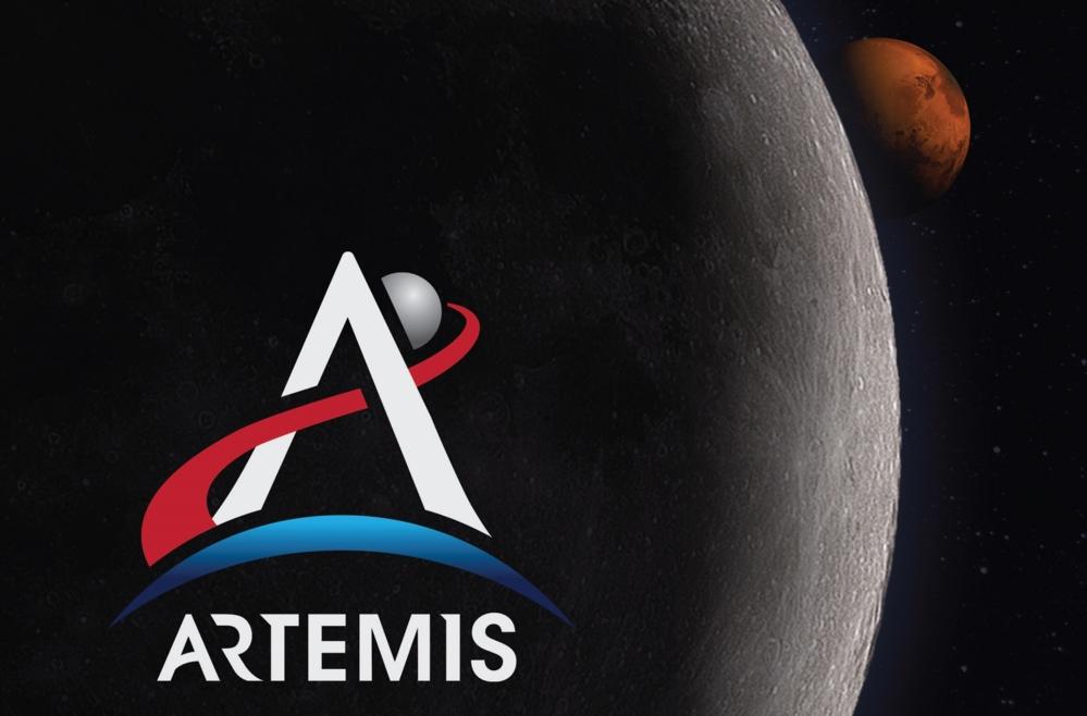 NASAs nye måneferder har fått navnet Artemis, etter Apollos tvillingsøster. Slik ser logoen ut. Illustrasjon: NASA