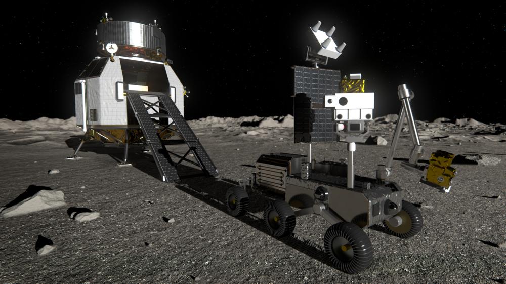 Måneferden Heracles skal lande en rover på månen som skal ta prøver og sende disse tilbake til jorda. Illustrasjon: ESA
