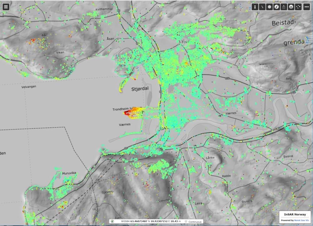 Slik ser Trondheim og omegn ut i InSAR Norge. Rødt og oransje viser områdene med mest bevegelse, gult og grønt med minst. Foto: InSAR Norge