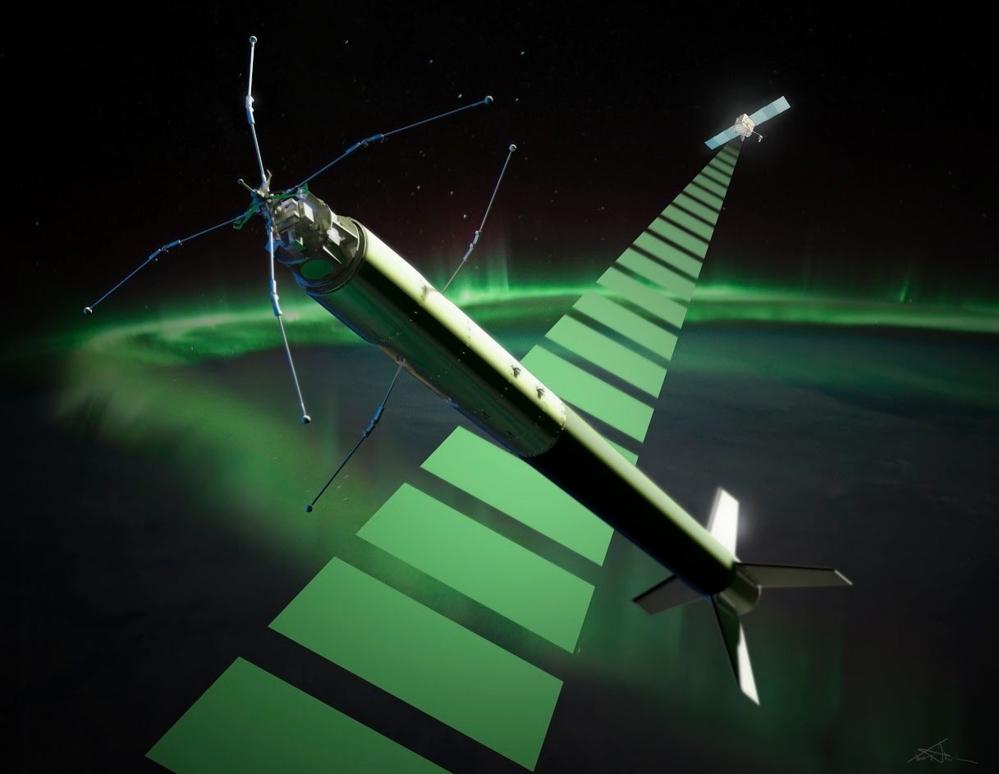 Illustrasjon av den norske sonderaketten ICI-4 like etter oppskyting mens den forsker på dårlig romvær. Illustrasjon: T. Abrahamsen/ASC