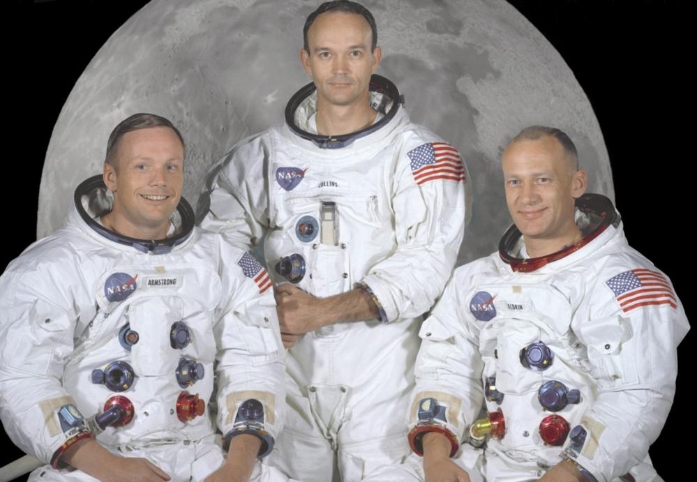 De første astronautene på månen, fra venstre: Neil Armstrong, Michael Collins og Buzz Aldrin. Foto: NASA