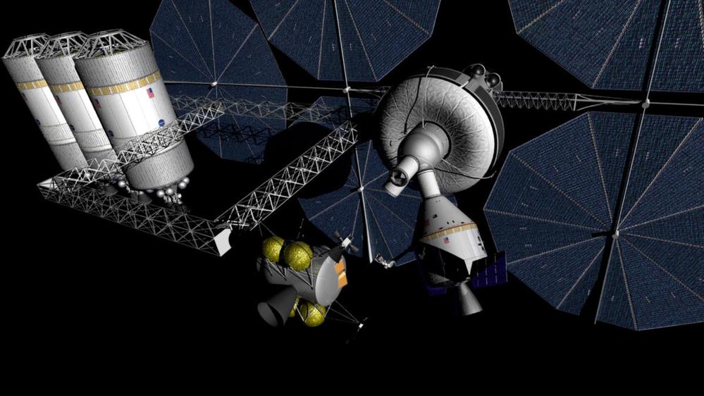 Det planlagte romfartøyet Orion ved en rombase med drivstofflager i L2-punktet bak månen. Illustrasjon: NASA