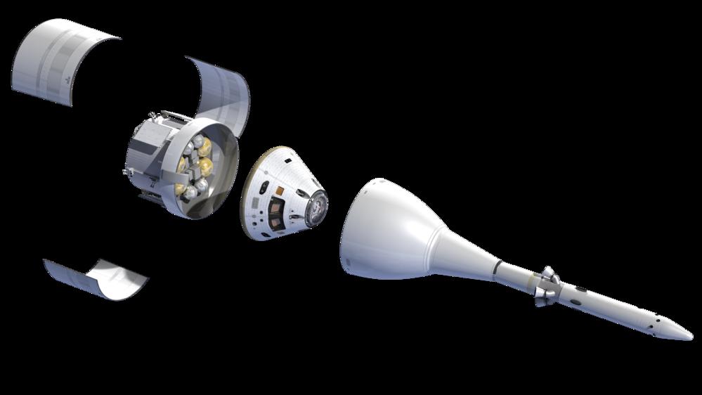 Orion med astronautkapselen i midten og den europeiske service-modulen for motorer, strøm og forsyninger under. Grafikk: NASA