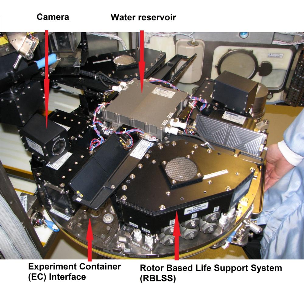Slik ser en sentrifuge med vekstkamre (EMCS) til bruk på romstasjonen ut inni. Foto: CIRiS