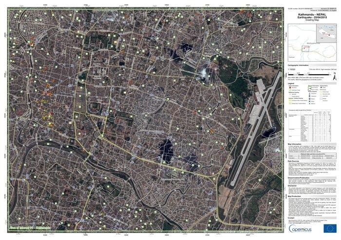 Kart over Katmandu for katastrofehjelp etter jordskjelvet i Nepal 25. april 2015. Kartet er basert på bilder fra satellitter som tar optiske bilder og viser topografi og annen informasjon viktig for hjelpearbeidet. Foto: DigitalGlobe/European Commission
