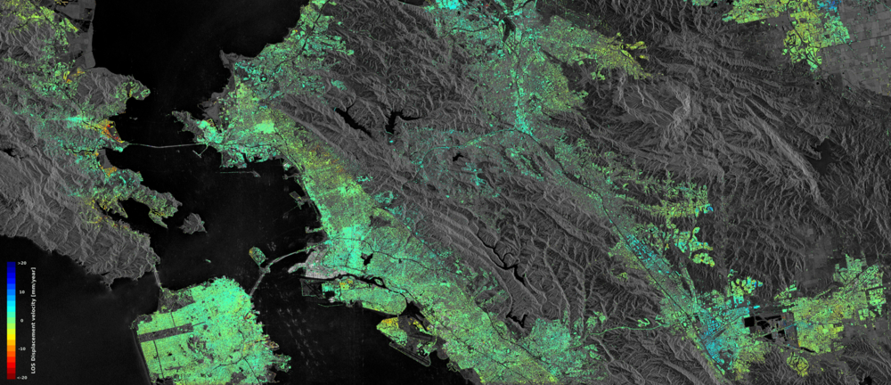 Nedsynking (gult, oransje, rødt) og heving (blått) i San Francisco Bay Area, sett av Sentinel-1-satellittene. Foto: Contains modified Copernicus Sentinel data (2015–16)/ESA SEOM INSARAP study/PPO.labs/Norut/NGU