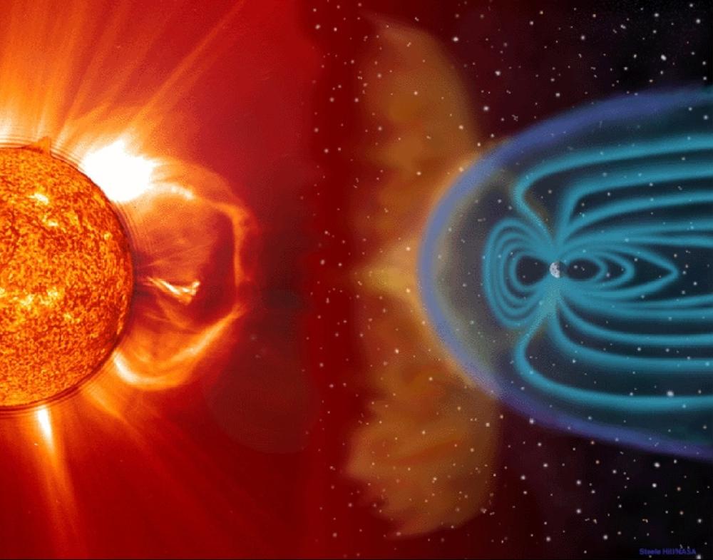 """Samspillet mellom sola og jorda danner """"vær"""" i rommet. Illustrasjon: ESA"""