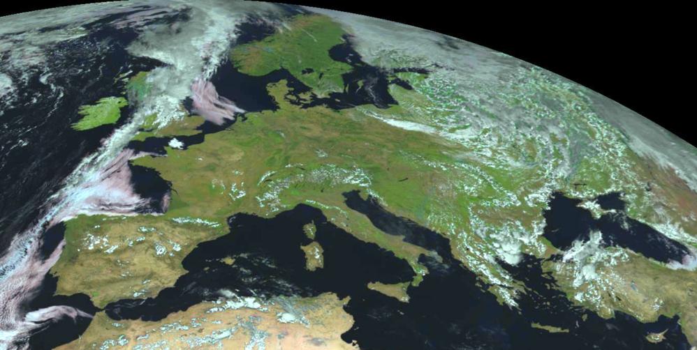 Europa sett av satellitten MSG-1. Foto: EUMETSAT