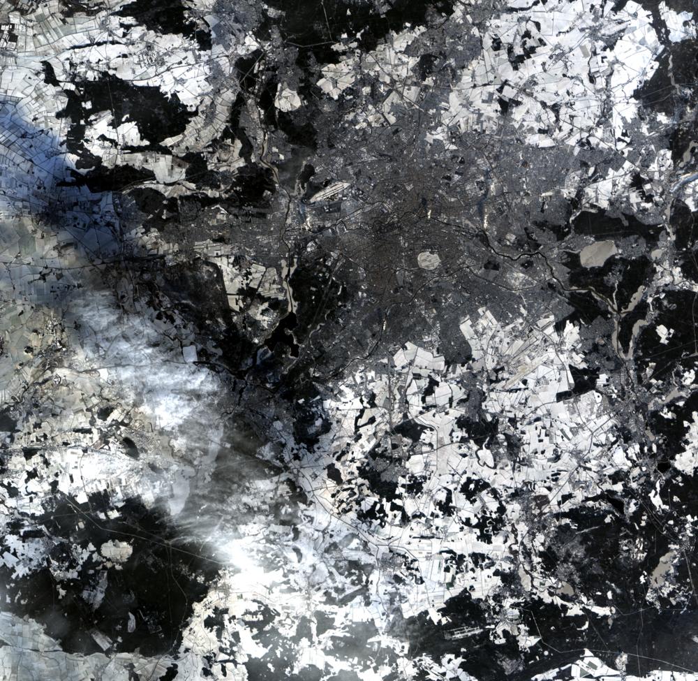 Satellittbilde av Berlin og området rundt sett av ALOS. Foto: JAXA/ESA