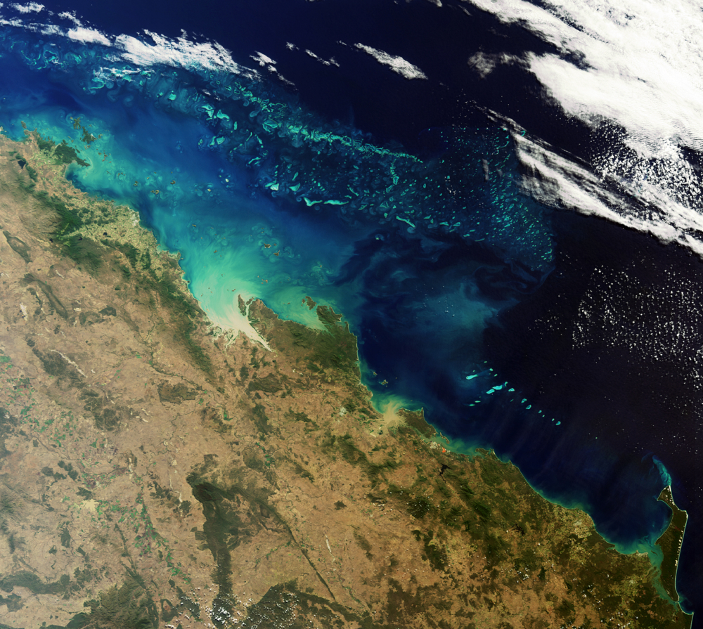 Satellittbilde av Australias Great Barrier Reef sett av Envisat. Foto: ESA