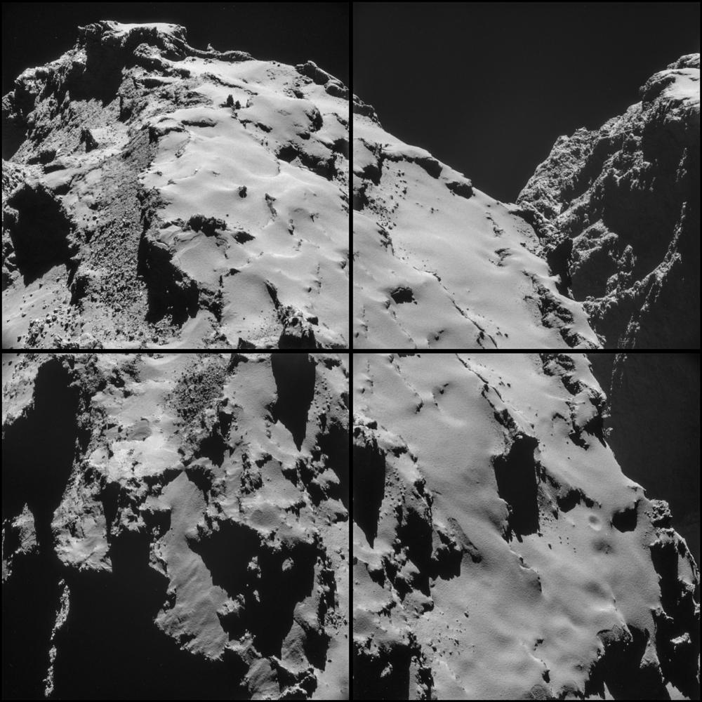 Montasje av fire forskjellige bilder tatt av Rosettas navigasjonskamera 28. oktober. Rosetta befant seg da 7, 7 km fra kometens overflate. Foto: ESA.