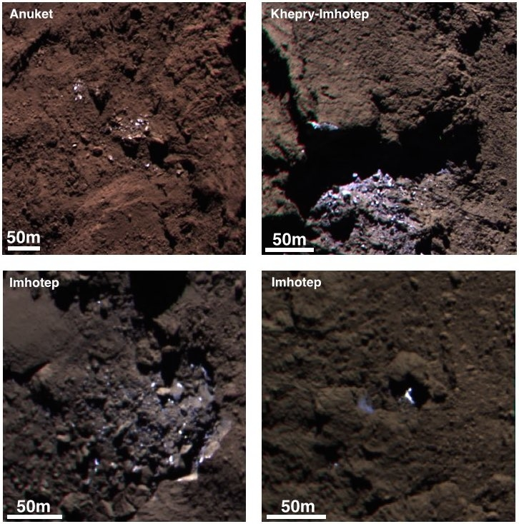 Fire steder med is på 67P sett i farger av Rosetta i september 2014 på en avstand av 30-40 kilometer. Foto: ESA/Rosetta/MPS for OSIRIS Team MPS/UPD/LAM/IAA/SSO/INTA/UPM/DASP/IDA