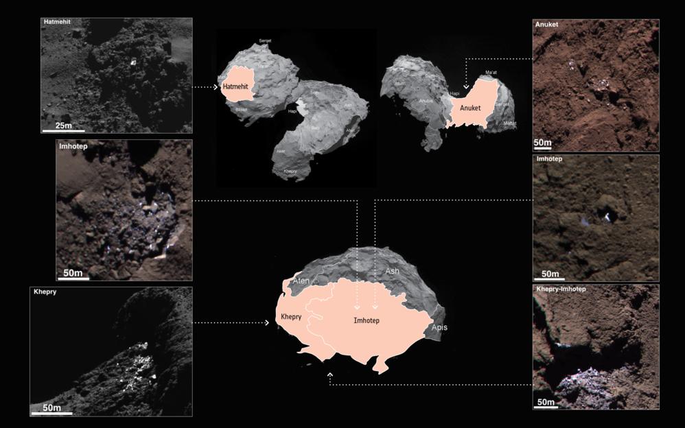 Oversikt over steder på 67P med lyse flekker av vannis. Foto: ESA/Rosetta/MPS for OSIRIS Team MPS/UPD/LAM/IAA/SSO/INTA/UPM/DASP/IDA
