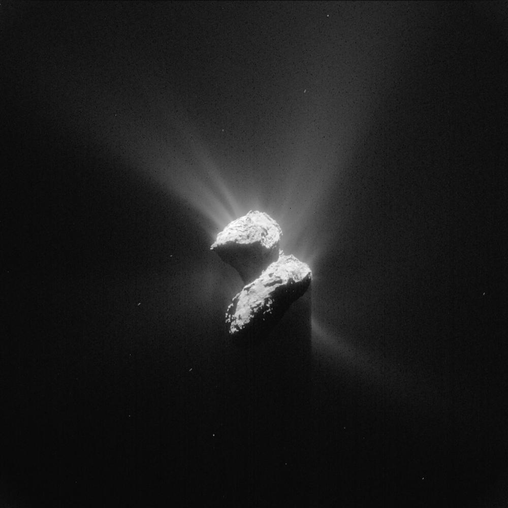 Kometen 67Ps aktivitet 5. juni 2015, sett av Rosetta på en avstand av 208 kilometer fra kometens kjerne. Foto: ESA/Rosetta/NavCam – CC BY-SA IGO 3.0