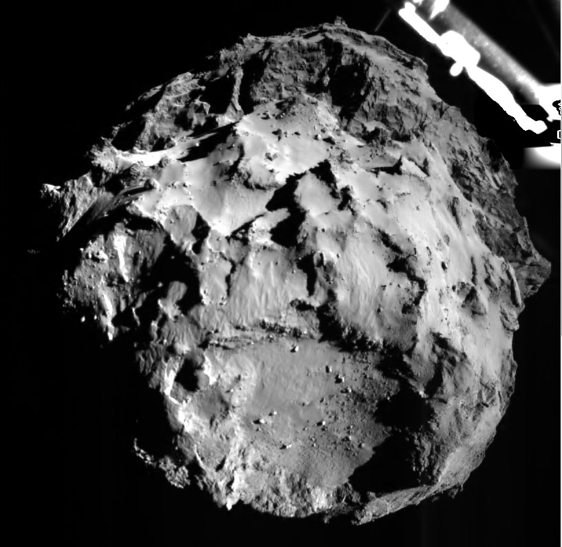 Bildet tatt av Philae like før landing på kometen. Foto: ESA.