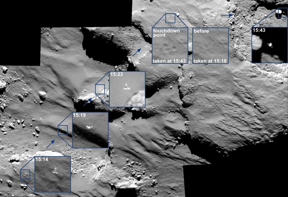 Philae før landingssonden tok bakken for første gang på kometen 67P 12. november 2014. Foto: ESA/Rosetta/MPS for OSIRIS Team MPS/UPD/LAM/IAA/SSO/INTA/UPM/DASP/IDA