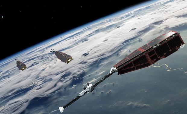 De tre satellittene i Swarm undersøker jordas livsviktige magnetfelt. Illustrasjon: ESA/AOES Medialab